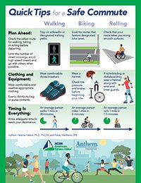 chart, tips for walking, biking and rolling on your commute