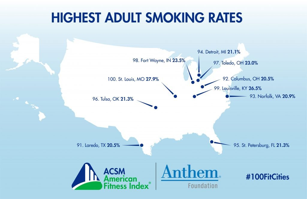 graphic of US cities with highest smoking rates