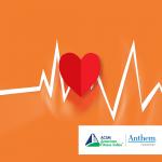 heart and EKG on orange background
