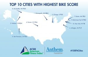 USA map bike score 2020